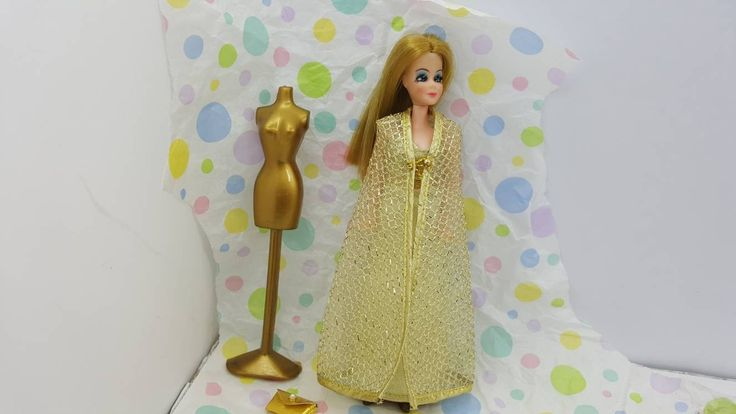Dawn Doll All That Glitters 814 Gold Gown and Vest fashion Outfit 6.5 inch dolls Topper Dawn Angie Glori Jessica #collectors #dollclothes