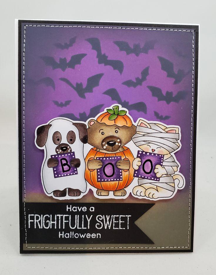halloween tricks or treats trio blank notecard greetings