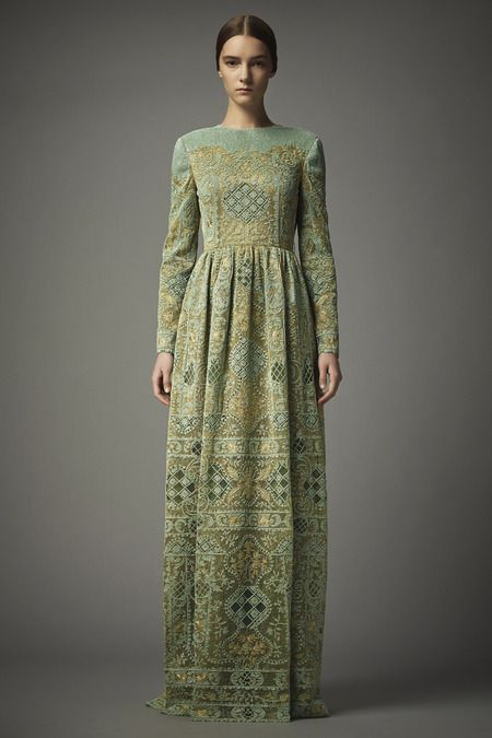 Valentino | Pre-Fall 2014 Collection, pale sage patterned full length dress
