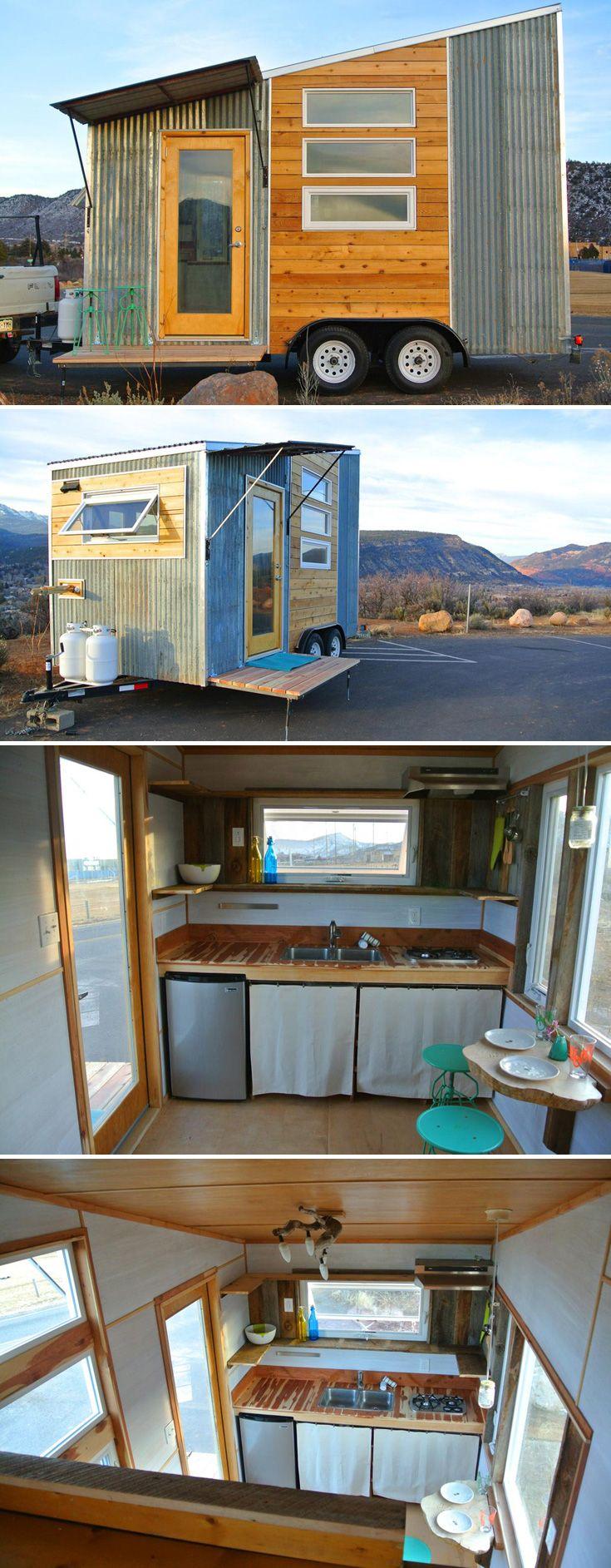 A lightweight, aerodynamic 120 sq.ft. tiny house on a 7.5' x 16' trailer.