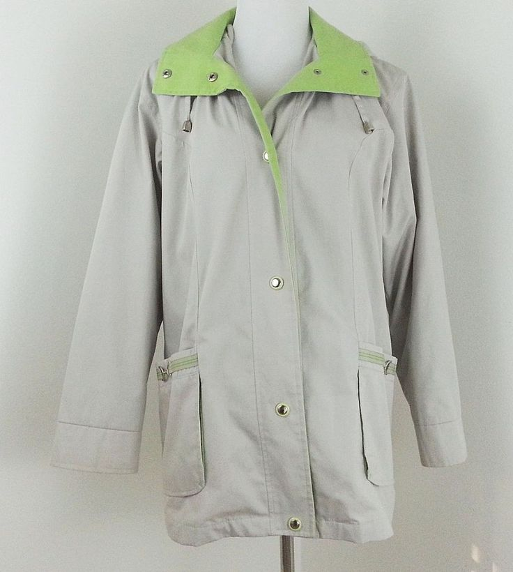 Mackintosh Parka  Womens sz Small Medium Rain Jacket Large Ivory Green Hood #Mackintosh #ParkaRainCarCoat