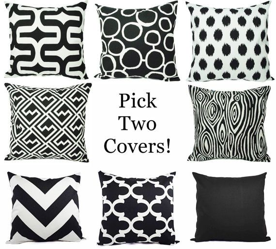 Couch Pillow Covers - Pick Your Own Set of Two Black and White 20 x 20 Inch Decorative Throw Pillow Cushion Cover Accent Pillow