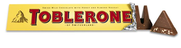 Toblerone Swiss Chocolate - very unique packaging.  If you look closely at the white portion of the mountain, you will see a bear that symbolizes the city of it's origin.Stuffers Ideas, Toblerone, Gift Ideas, Milk Chocolates, Chocolates Bar, Stocking Stuffers, Stockings Stuffers, 121 Stockings, Swiss Chocolates
