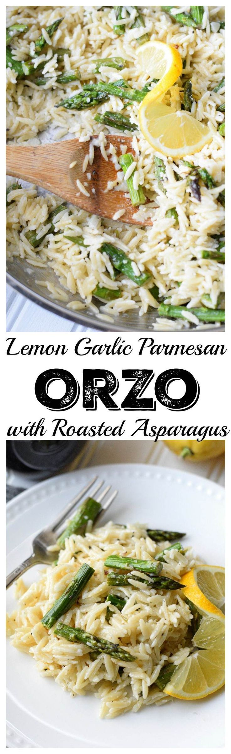 Lemon Garlic Parmesan Orzo with Roasted Asparagus makes a great side dish that screams Springtime. (Lemon Butter Asparagus)