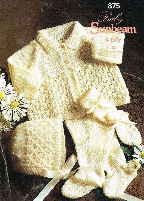 Baby Pram Suit Vintage Knitting Pattern Pdf Instant
