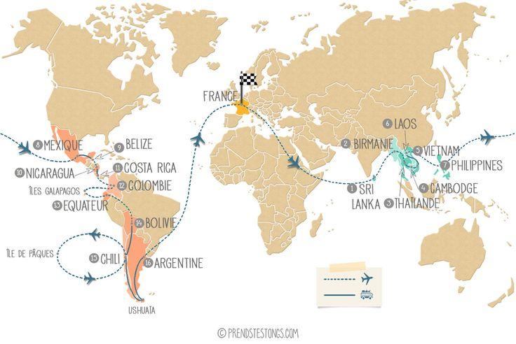 Découvrez l'itinéraire de notre tour du monde en Asie et Amérique Latine : suivez-nous sur cette carte au fil des semaines pour savoir à quel endroit nous
