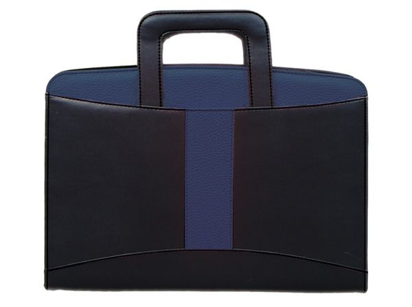 Drop Handle A4 Folder Product Code: P135E Packaging: Cellophane Packet Colour(s): Black-Blue Material: Koskin Size: 34.5(L)x 25(W)- closed  Branding Methods: Silk Screening  (Default Method), Engraving Standard , Engraving Large Additional Info: Includes notepad and calculator