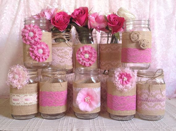 rustic burlap and pink lace covered mason jar vases wedding decoration, bridal shower, engagement, anniversary party decor