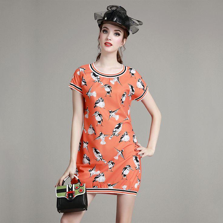 Good Elasticity Slim Autumn Summer Dresses Women A-Line Orange Animal Mini Casual Cute Dress vestidos de festa femme 02 *** More info could be found at the image url.