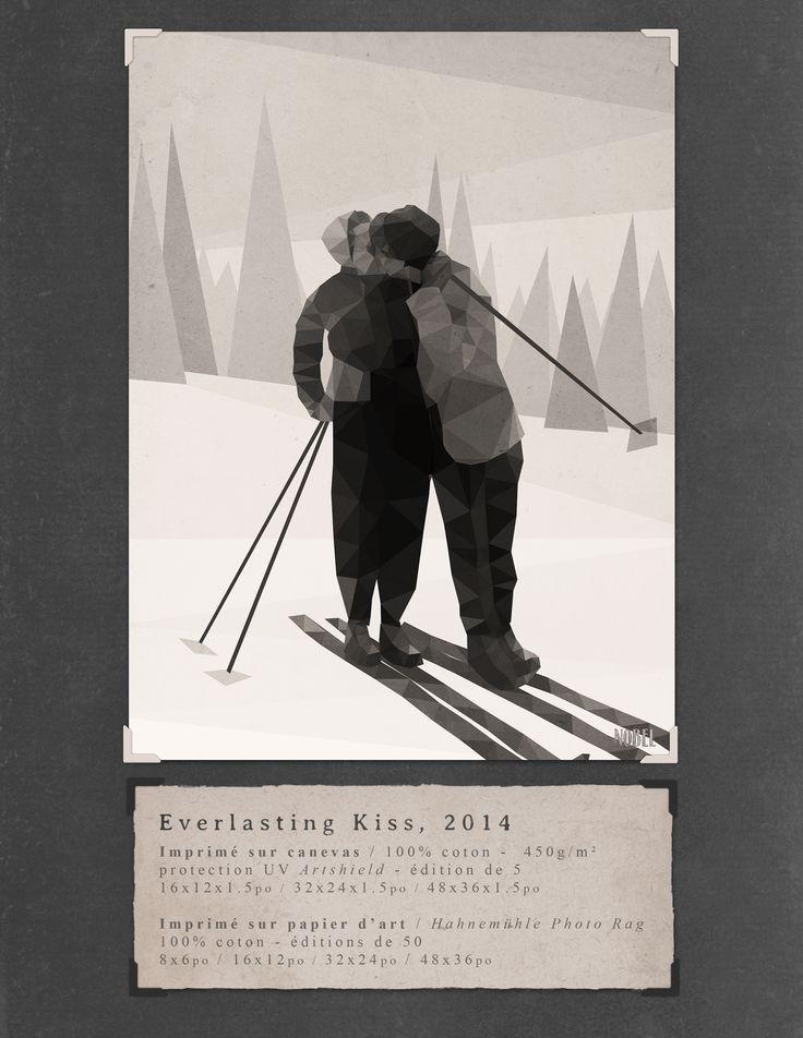 Everlasting Kiss, 2014. 48x36in. #print on canvas & print on #Hahnemühle Photo Rag. Limited edition. #chic #shack #shabby #vintage #ski #skiers #winter #sport / Taken from Nobel's Portfolio /  Artist is Boris Nobel