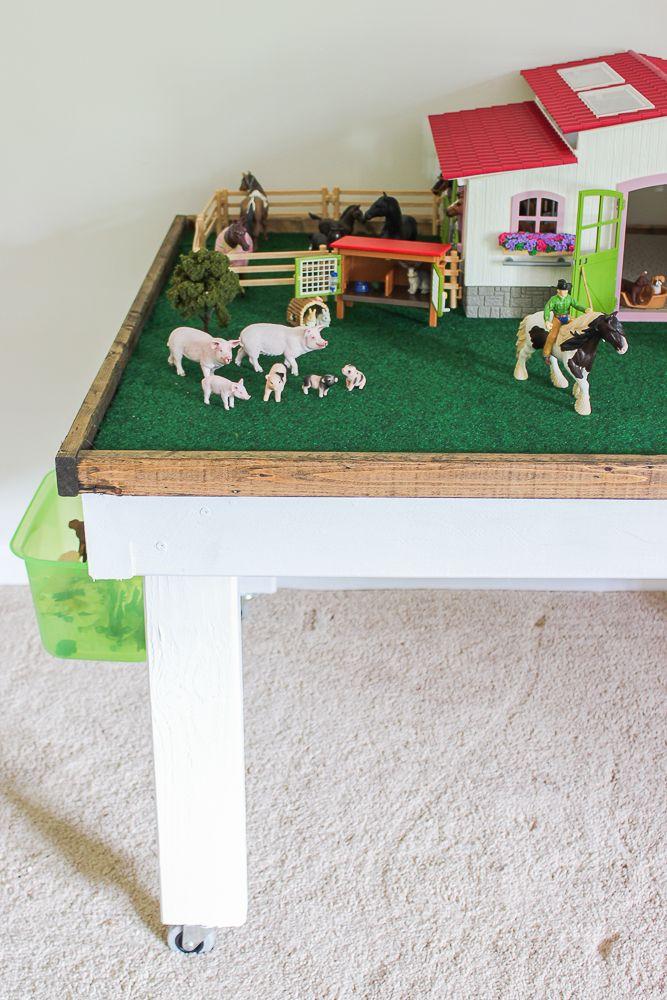 DIY Kids' Play Table with Storage | Kids play table, Farm kids