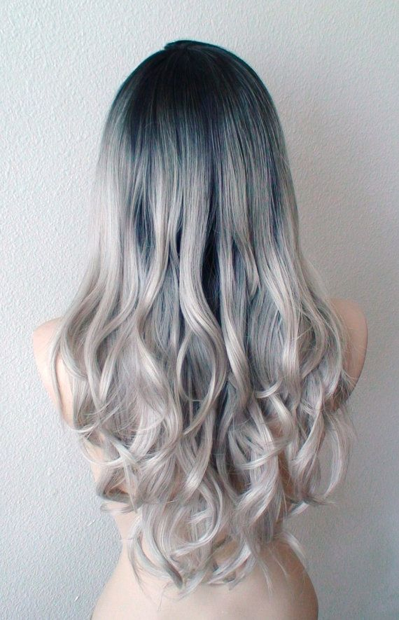 Silver Ombre wig. Dip dye Dark roots silver hair wig. by kekeshop
