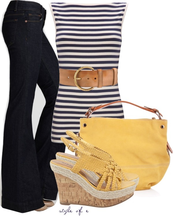 Navy & YellowFrench Connection, Fashion, Summer Outfit, Style, Navy Stripes, Clothing, Yellow Polyvore Outfit, Yellow Blazer, Dreams Closets