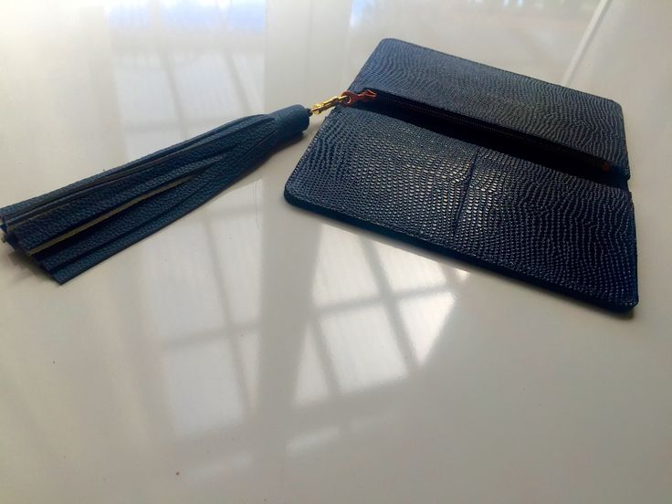 www.thejonesgirls.co.nz Royal Blue Cobbled Leather Wallet  Blue Leather Tassel