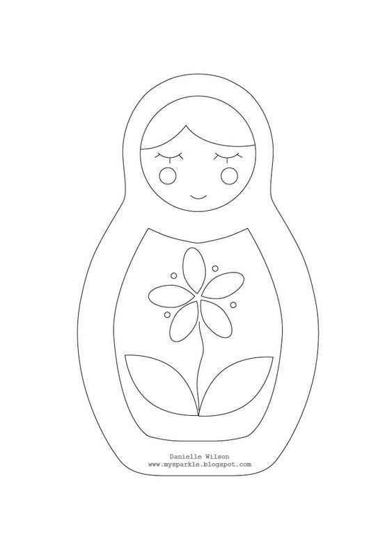 pattern for russian doll - could use applique from floral fabrics