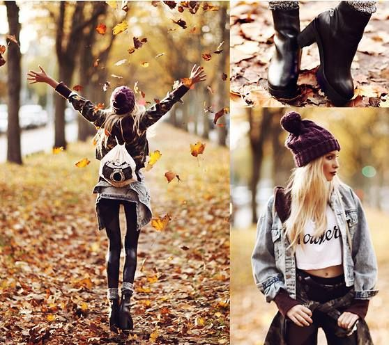 Black Boots, Black Vegan Leather Leggings, Over-Sized Denim Jacket, Purple-Pattered Hoodie, Purple Winter Hat, White Crop Top... Grunge for Autumn