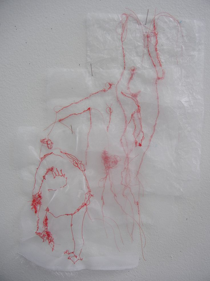 Stitched life drawings.