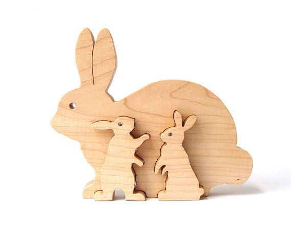 Wood Easter Bunny Rabbit Decoration Woodland Animal Country Decor Maple Wooden Puzzle Hand Cut Scroll Saw