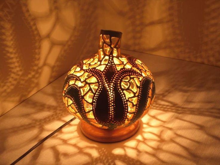 100% HANDMADE Gourd lamp , Kürbislampe handcrafted Table Lamps Lampshade pendant