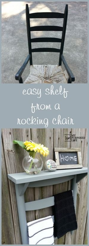 My Repurposed Life How to make a towel rack shelf from a chair back. Great for the kitchen or bathroom.