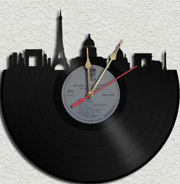 Upcycled vinyl record album skyline clock.