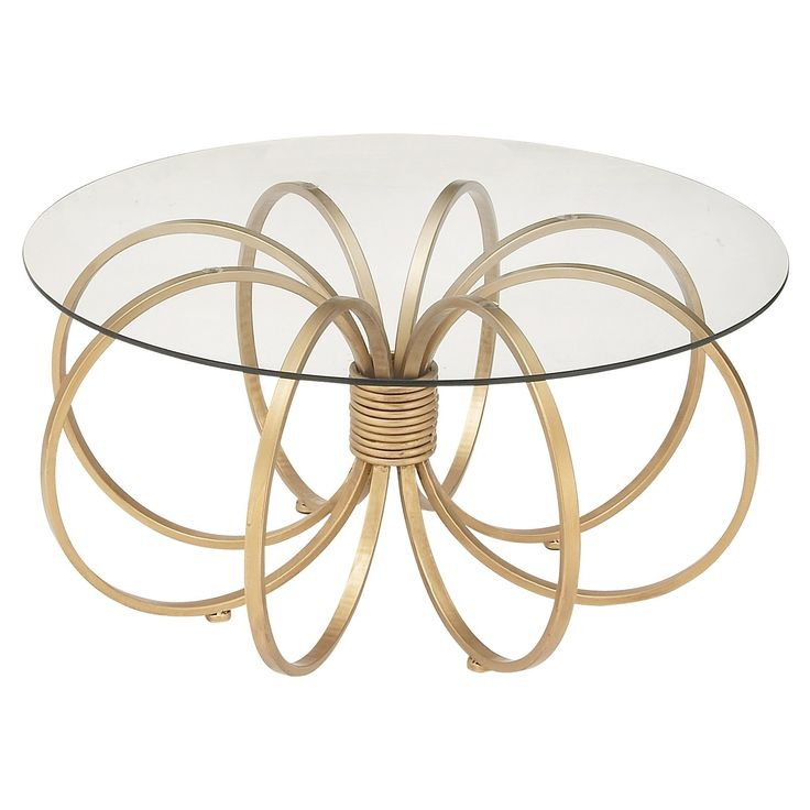 DecMode Metal And Glass Round Coffee Table   Gold Finished Rings Are  Gathered To Form The Chic Base Of The DecMode Metal And Glass Round Coffee  Table .