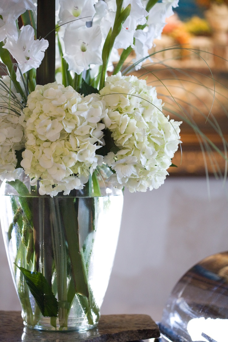 white gladiolus and white hydrangeas in one of my wedding floral arrangements photographed by. Black Bedroom Furniture Sets. Home Design Ideas
