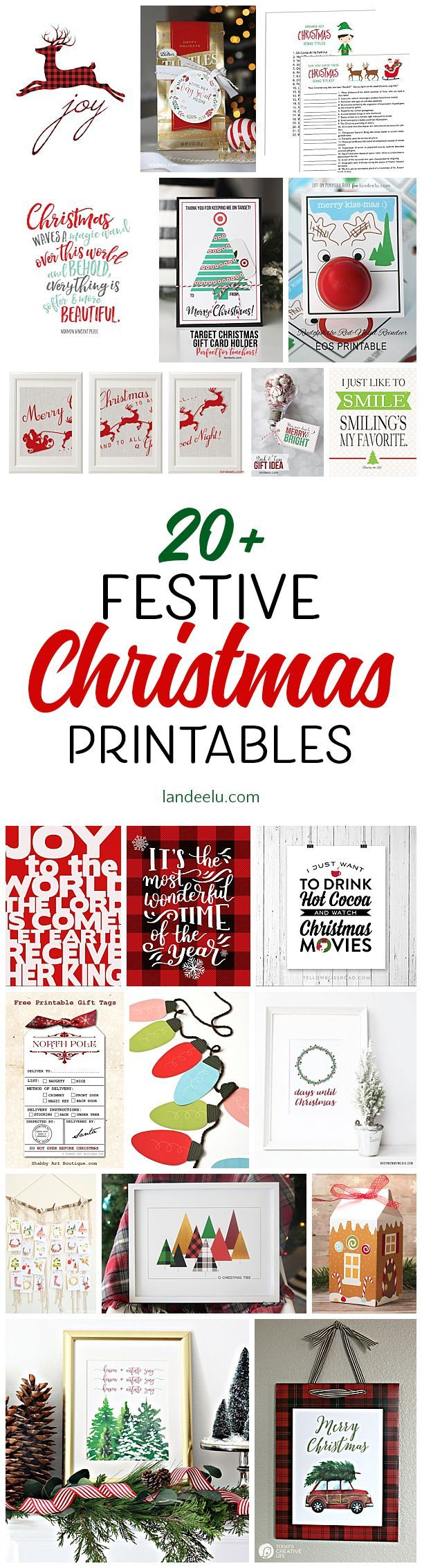 Over 20 festive + free Christmas printables to help deck the halls!