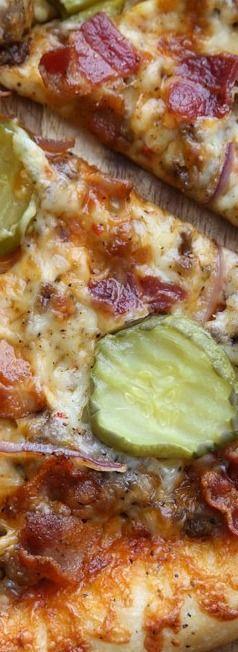Thin Crust Bacon Cheeseburger Pizza | Baked by Rachel