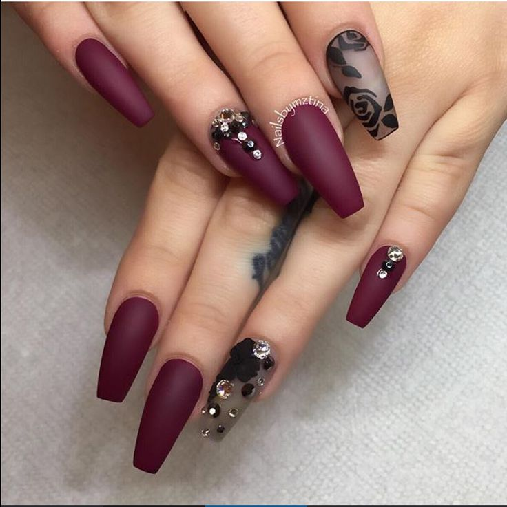 Amazing black and maroon nail art design. You can see that there are floral  designs on the matte black polish while the rest of the nails are in deep  dark ... - 535 Best Nails Art And Design 2 Images On Pinterest Beautiful