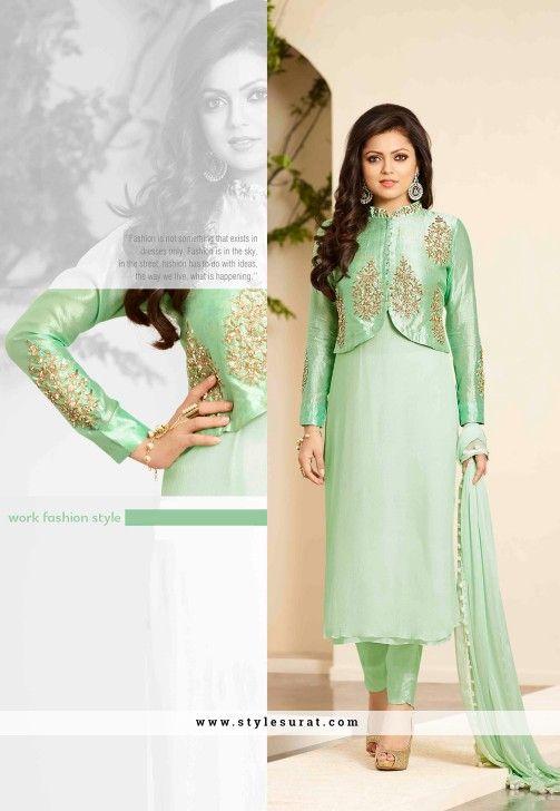 Alluring Sea Green Color Jacket Style Drashti Dhami Suit