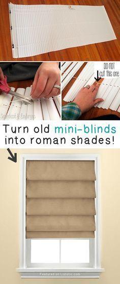 # 10. Gire viejas persianas en cortinas romanas! - 27 sencillos proyectos de remodelación que transformarán por completo tu casa