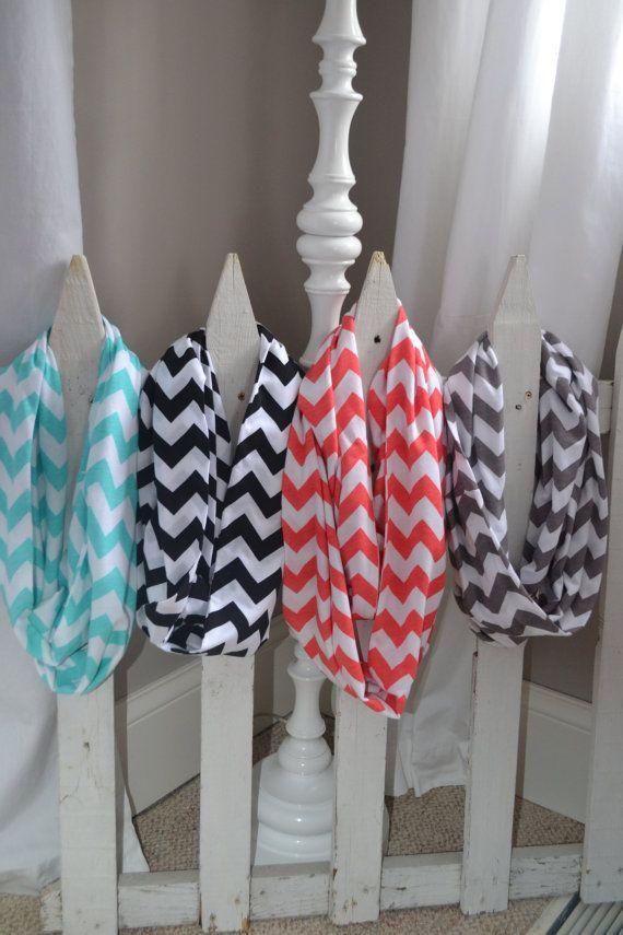 $18 [chevron infinity jersey knit scarves // sherikatedesigns on etsy]