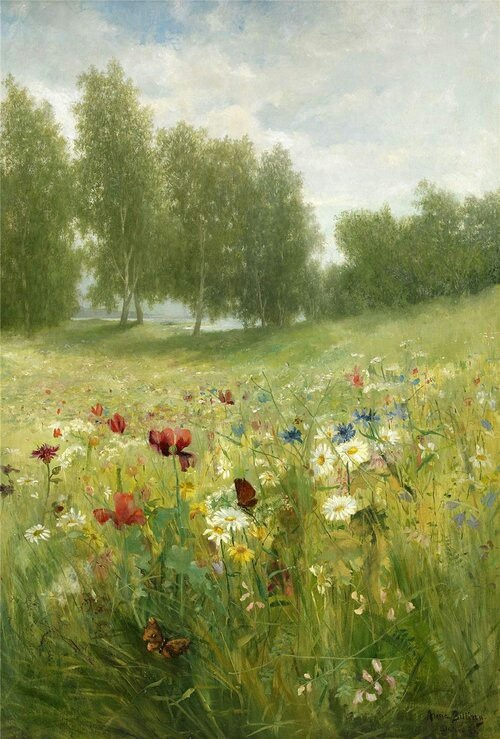 """""""Meadow"""" by Anna Billing (1849-1927), Swedish Artist noted for her paintings of Floral Still Life & Lush, Green Landscapes ...."""
