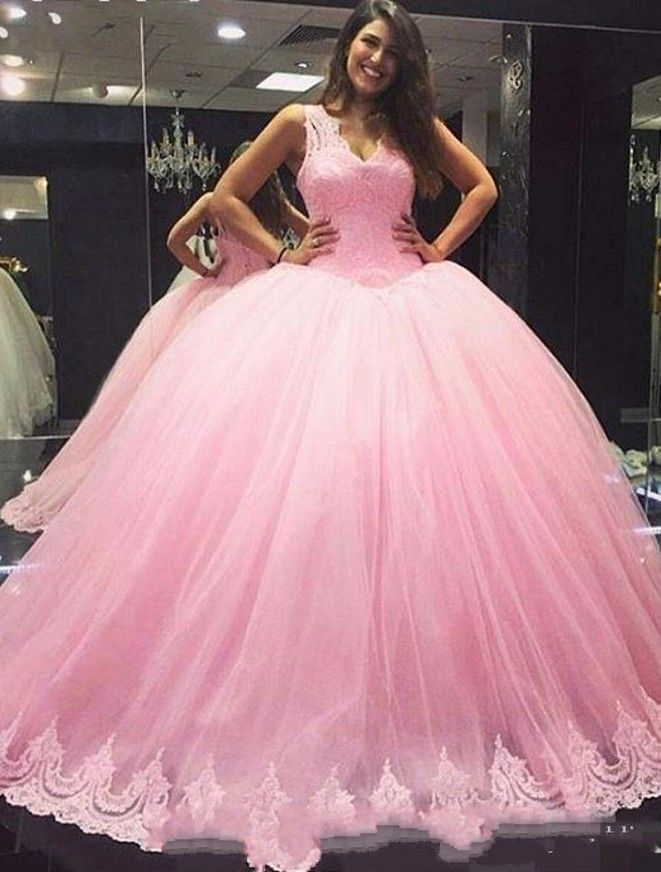 prizessin rosa quinceanera kleider mit spitze traeger abendkleider