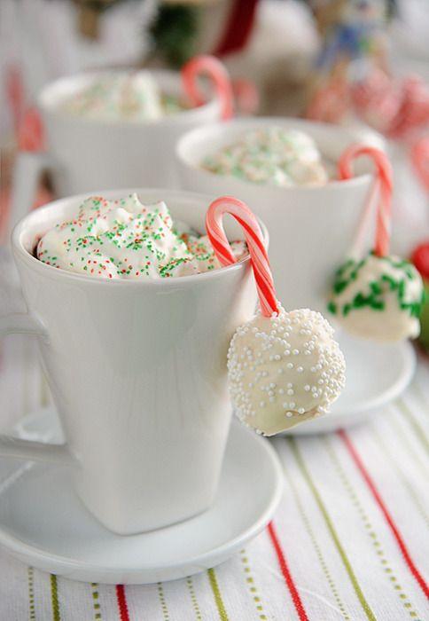 Hot chocolate  & cake popsIdeas, Cocoa, Candy Canes, Candies Canes, Hot Chocolates, Drinks, Hot Coco, Whipped Cream, Christmas Cake Pop