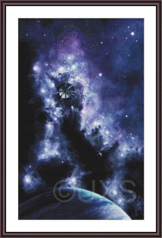 Midnight Voyage starscape space fantasy counted by UnconventionalX, $15.00