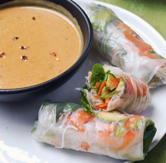 Vegetable summer rolls with spicy peanut sauce.  So easy, and no cooking!