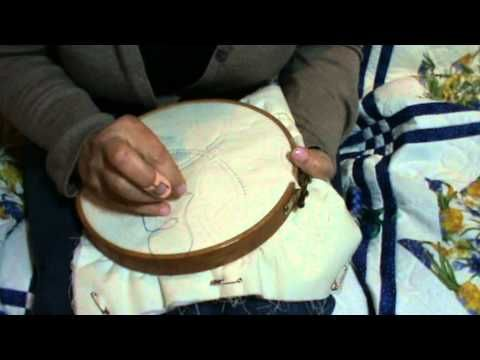 """Hand Quilting - Excellent instruction on """"Quilters Knot"""" - The lady is so enthusiastic too."""