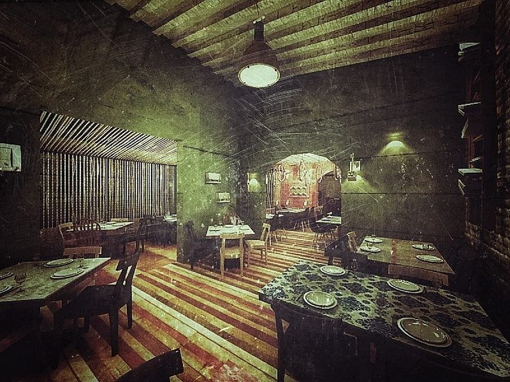 Lefkes restaurant / Athens Galatsi / Galatsiou str . Retro 3d renders