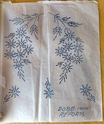 """Genuine 10"""" x 10"""" Vintage Embroidery Transfer - Daisy Flower spray - 2085"""