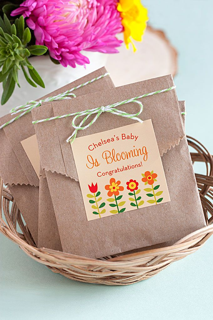 """""""Baby is Blooming"""" Seed Packet Favors 