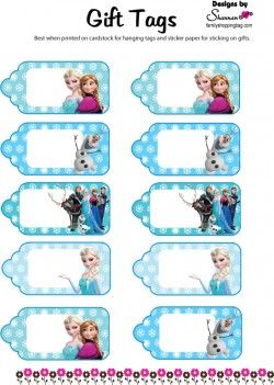 Gift Tags, Frozen, Gift Tags - Free Printable Ideas from Family Shoppingbag.com