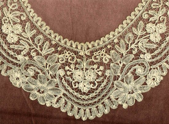 """Duchesse bobbin lace """"This Belgian lace style developed in the 1850's. Parts were constructed separately with filmy linen stitch or half stitch, and then assembled."""""""