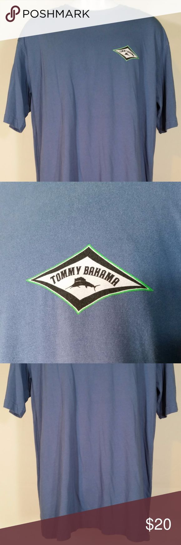 "Tommy Bahama blue Pay Per View t-shirt size M -Item: men's short sleeve graphic t-shirt   -Brand: Tommy Bahama  -Size: M  -Color: blue  -Condition: Excellent  -Fabric Content: 100% cotton  -Special Details/Notes: front has a small diamond shape with the Marlin logo inside it on the left side of the chest. back has a colorful illustration of a pay telescope/binoculars with the words ""The Original Pay Per View"" written underneath it. Unique! Would make a great gift!   - Measurements lying…"