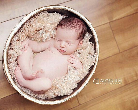 Beautiful handmade newborn photography prop lace basket filler