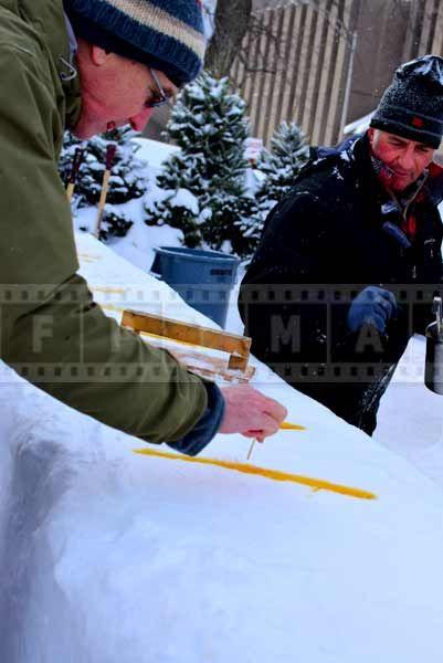 Sweet street food snack - maple sugar strips on fresh snow