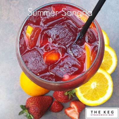 """A Pitcher of The Keg's Summer Sangria 1 bottle of your favourite merlot 1 ½ oz of white rum 1 ½ oz of gin 1 ½ oz of cherry brandy 1 cup of simply syrup ( equal parts of sugar and water, boiled and reduced to a syrup) ½ cup of orange juice ½ cup of pineapple juice ½ cup of sliced strawberries ½ cup of raspberries 4 orange wheels, cut into quarters ¼ cup of our """"drunken cherries"""" – similar to our drunken cranberries. (recipe in a previous post) Ginger ale Combine all of the ingredients into a…"""