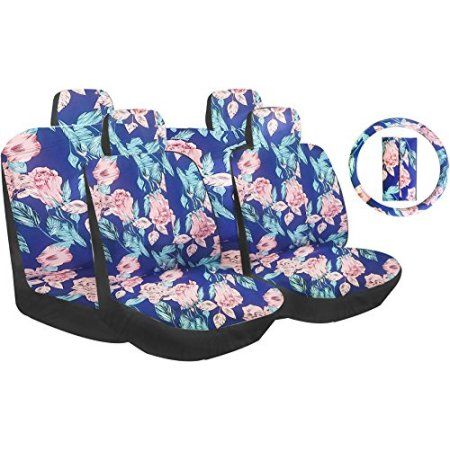 Free Shipping. Buy Premium 13 Piece Luxury Poly Cloth Flowers Blue Hawaiian Stitching Universal Car Seat Cover Set w/ Steering Wheel & Seat Belt Pads - Trendy Collection at Walmart.com