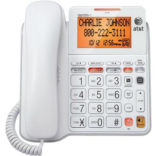 AT CL4940 1-Handset Landline Telephone with Large Display by AT $33.96. From the Manufacturer                   Corded Answering System with Large Tilt Display     Corded phone with integrated answering machine. View larger      Extra-large tilt display for effortlessly reviewing calls. View larger      Intuitive controls and big buttons to ensure easy dialing. View larger  A corded telephone featuring a large tilt display, digital answering system and extra-large but...